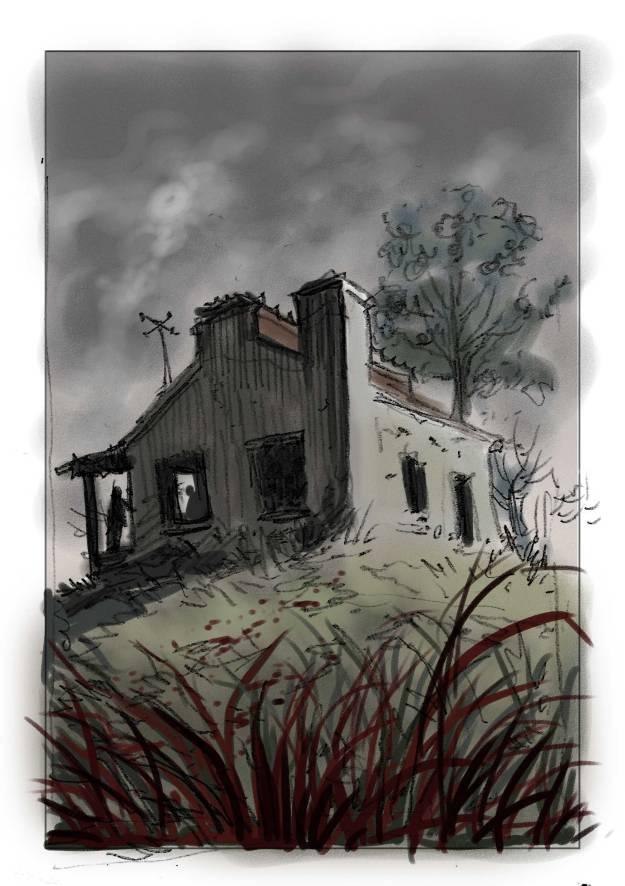Boceto de Gualicho del ilustrador Sebastián Cabrol