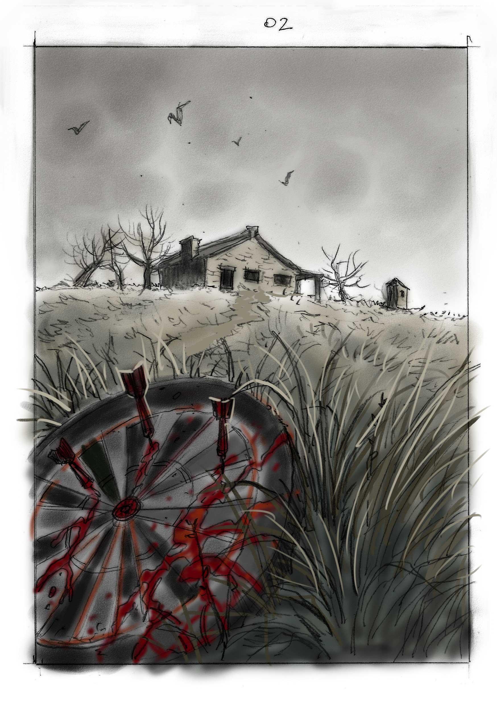 Otro boceto de Sebastián Cabrol para el póster de producción de Gualicho
