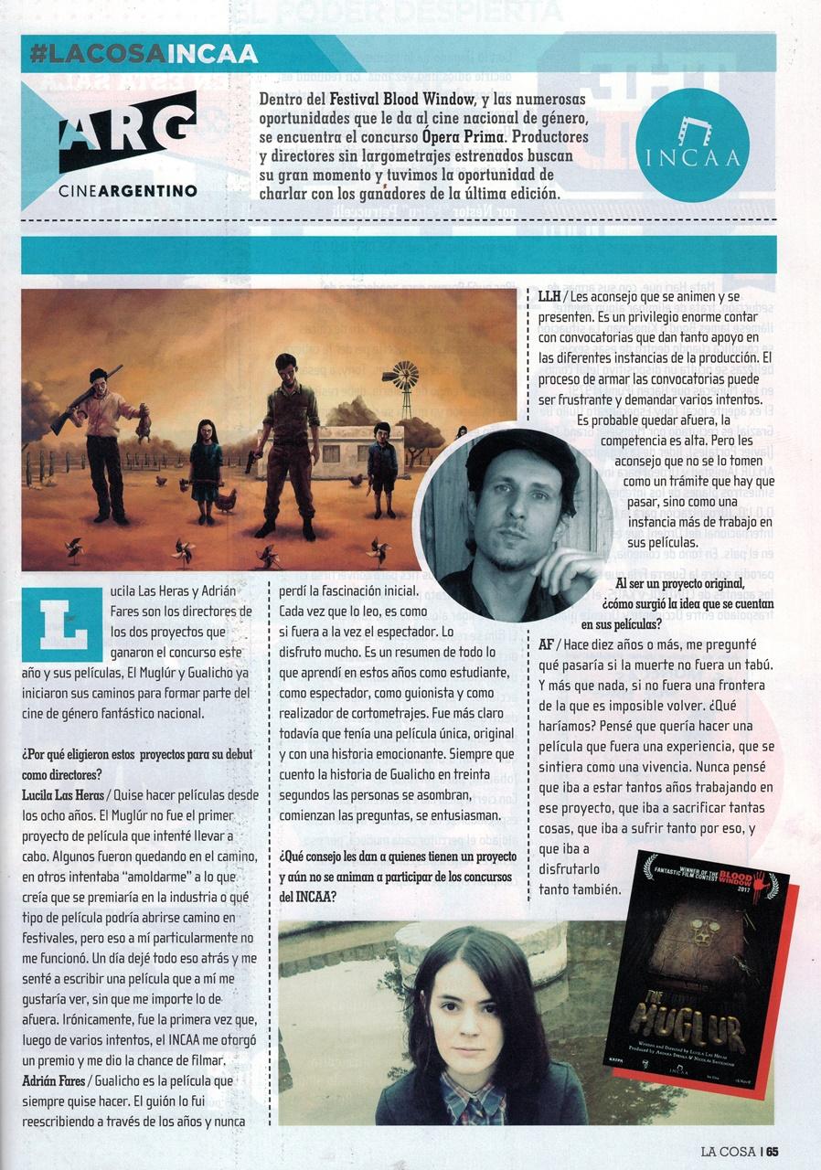 Entrevista INCAA LA COSA. Comparto la nota con Lucila Las Heras, directora argentina del otro proyecto ganador del concurso: su película El Muglur!
