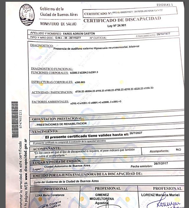 Certificado de Discapacidad Director de Cine Ganador Premio INCAA