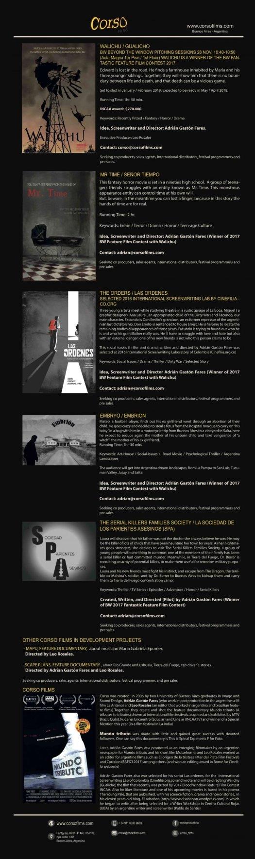 Catálogo películas y proyectos Corso films